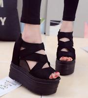Womens Peep Toe High Platform Hidden Wedge Heel Sandals Hollow Out Roman Shoes
