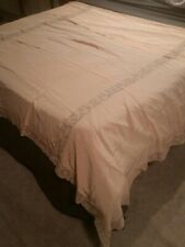 """Elegant Vintage Peach Silk Bed Cover with Angel w/Horn Lace Insert 60"""" X 90"""""""