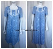 M S Ladies Nightdress Nightie Blue Polka Dot Cotton Mix Knee Long Nightie  ... 3d86bdb41