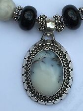 This Gorgeous Polished Moonstone Pendant  Black Onyx  Necklace A Statement Maker