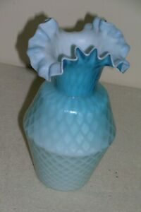 "Vintage Fenton Diamond Satin Ruffled Vase Aqua Blue 8"" Tall"