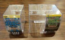 3 Lottery Scratch Ticket Display Case Box Dispenser Unit Lot Key Clear Plastic 3
