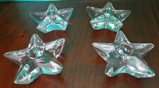 "Clear Glass Star Candle Stick Holders Set of 4 Table Decor 4"" Paperweights"