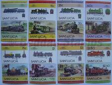 1985 ST LUCIA Set #3 Train Locomotive Railway Stamps (Leaders of the World)