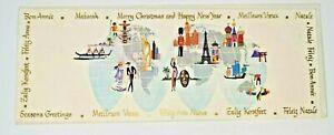 Lot 3 Vintage Christmas Holiday Cards Award Greetings USA Many languages NOS