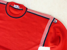 Unused FILA Vintage ca 1982 Iconic Red 100% Wool Sweater Jumper MADE IN ITALY