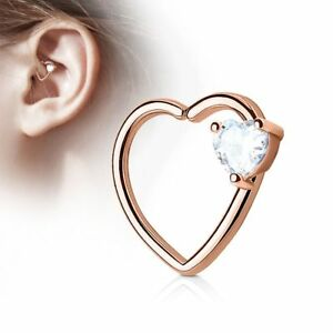 Piercing Cartilage Daith Gem Heart White Gold Plated Pink