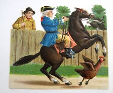 Vintage Die Cut of Man On Horse Being Scared By Donkey  *