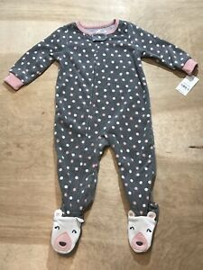 Carter's Baby Girls 1-Piece  Footie Long Sleeve PJs, Gray 18 M NWT