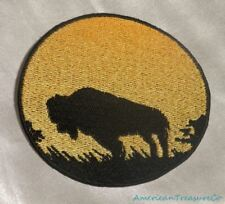 Embroidered Buffalo Bison Sunset Silhouette Ombre Circle Patch Iron On Sew USA