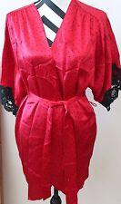 Victoria's Secret Red w/Black Polka Dot Silk Robe L#210g