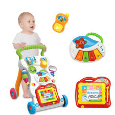 2 In 1 First Steps Baby Walker Music and Lights Fun Push Along Walker