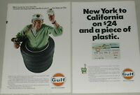 1967 Gulf Oil Corp advertisement x2, Credit Card, Gulf Travel Card