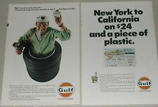 1967 Gulf Oil Corp advertisement x2, Credit Card, Gulf Travel Card