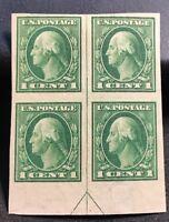 us stamps Scott 408 MH OG Vertical Line Margin Block Of 4 Lot J-6