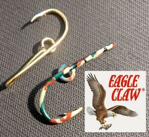 Camo and GOLD ORIGINAL EAGLE CLAW 155a CAP Hook Hat Pin, Fish Hook Clasps money
