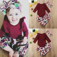 U3T5 born Infant Baby Girls Outfit Clothes Romper Jumpsuit Set 2x O4X1 Bodysuit
