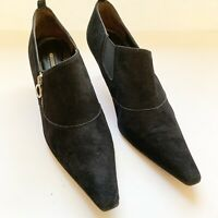 DONALD PLINER POINTED TOE BLACK SUEDE BOOTIE WITH ZIPPER ON THE SIDE SIZE 8.5 M
