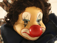 """Hunted Scary Large Vintage Creepy Hanging Jester Clown Doll 17.5"""" tall"""