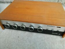 Vintage Philips Stereo Amp Amplifier Made in Holland Pl 27163 Powers On Wood Cab