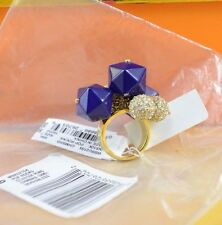 Kate Spade NEW YORK gold and blue Pop Rocks cluster Ring size 7
