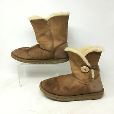 UGG Bailey Button Short Winter Boots Womens 8  Casual Sheepskin Suede Brown 5803