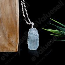"Rough Blue Aquamarine Gemstone March Birthstone 18"" Necklace 925 Sterling Silver"
