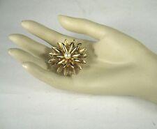 Kramer Pin Brooch Gold Tone Signed Faux Pearl Sz 1 5/8 In VTG Sunburst Flower