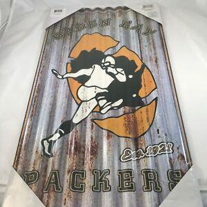 "Green Bay Packers Football NFL Corrugated Metal Wall Art 21.5"" X 11.75"""