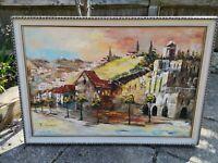 Large Original Canvas Oil Painting Landscape Buildings Town Signed T Lange