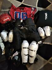 New listing Hockey Bauer Helmet Shoulder Elbow Shin Pads Gloves Pants Junior Large Roller