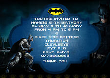 Personalizzata Festa Di Compleanno Inviti BAT MAN 8 invita Set A6 (qualsiasi età)