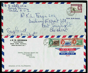 VIRGIN ISLANDS - 1962 & 1967 - TWO COVERS - TORTOLA WEST END & ROAD TOWN CDS