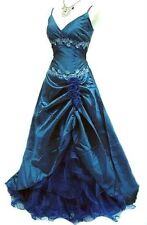 Sz 10-12 Cherlone Blue Satin & Lace Embellished Formal Evening Gown A8811NWT