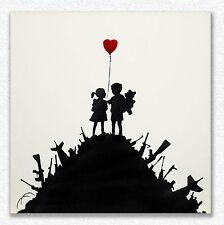 Banksy     Kids on Guns    80 x 80 cm   STAMPA SU TELA QUADRI CANVAS