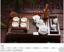 Chinese Pottery Tea Set Gaiwan Hollow-Out Tea Cup Solidwood Tea Tray Table 28pcs