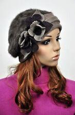 JM72 Rabbit Fur & Wool Women's Winter Hat Beanie Cap Cute 3D Flowers COFFEE