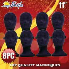 HALLOWEEN 8PC  STYROFOAM FOAM black velvet MANNEQUIN MANIKIN head display wig