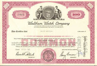 Waltham Watch Company > 1960s 100-share stock certificate scripophily