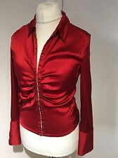 Karen Millen Amazing Red Corsetto Seta Velata Blusa Top 14