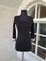 Women's Burberry Brit Black Nova Check 3/4 Sleeve Top Tunic Size S