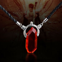 Devil May Cry DMC Dante Vergil Nephilim Ruby Blue Crystal Pendant Chain Necklace