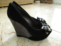 Super NINE WEST Ladies Black Suede Peep Toe Platform Party Shoes size 5.5 UK