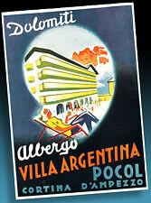 ALTER KOFFERAUFKLEBER LUGGAGE LABEL 30er | CORTINA D'AMPEZZO VILLA ARGENTINA