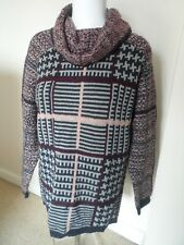 Marks & spencer ladies burgundy mix polo neck chunky jumper size 14