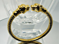 ~EXOTIC STUNNING Leopard Heads Cuff Bracelet Brass ~ US SELLER!