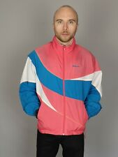 Vintage 90's Lightweight Reebok Hooded Shell Jacket Track Top Pink White Size M