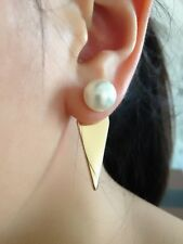 Fashion Jewelry Geometric Pearl Gold Double Sided Front Back Ear Jacket Earring