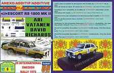 ANEXO DECAL 1/43 FORD ESCORT RS 1800 MK II ROTHMANS ARI VATANEN SWEDISH R. (04)