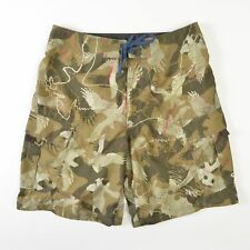 American Eagle Camo Board Shorts Swim Trunks Green Pink Mens 33 Longer Length